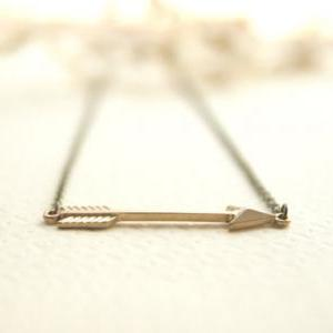 16k Gold Plated Arrow Necklace // H..
