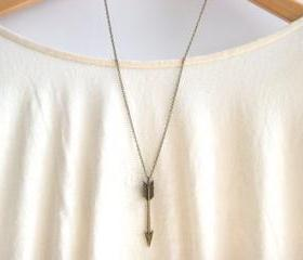 Chevron Arrow Necklace // Tribal Aztec Necklace // Hunger Games Necklace // Long Layering Necklace // Bridesmaid Gifts 