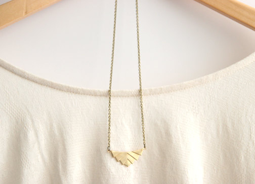 Gold Geometric Necklace // Aztec Necklace // Tribal Necklace // Bridesmaid Gifts // Rustic Wedding // Vintage Wedding