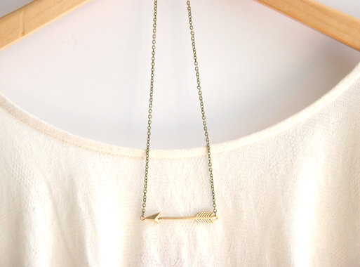 16k Gold Plated Arrow Necklace // Hunger Games // Katniss Necklace // Bridesmaid Gifts // Delicate Gold Necklace