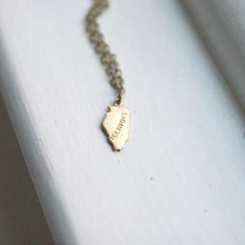Small Gold Illinois State Necklace, Mini State Necklace, Chicago Necklace, Bridesmaid gifts